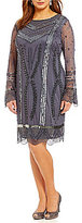 Pisarro Nights Plus Beaded Bell-Sleeve Sheath Dress