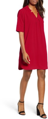 Bobeau Pleat Front Curved Hem Shirtdress