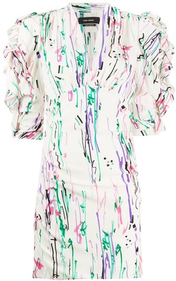 Isabel Marant Abstract-Print Puff-Shoulder Dress