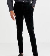 Asos Design DESIGN Tall super skinny smart trousers in pleated velvet in black