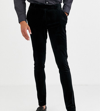 ASOS DESIGN Tall super skinny smart trousers in pleated velvet in black
