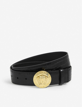 Versace Medusa coin crocodile-embossed leather belt