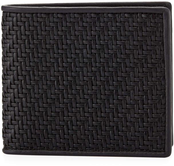 Ermenegildo Zegna Pelle Tessuta Woven Leather Bi-Fold Wallet, Black