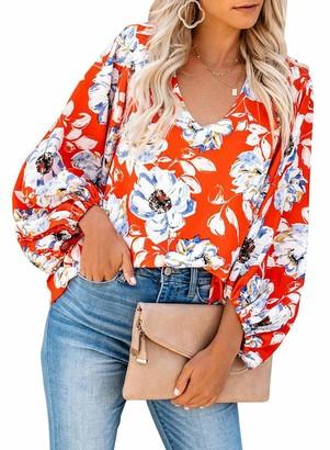 Elapsy Womens Balloon Sleeves Floral Blouses Sexy V-Neck Casual Tunics Boho Tops Orange X-Large 18 20