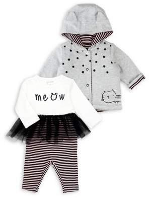 M·A·C Mac & Moon Baby Girl's Kitty Cat 3-Piece Cotton Hooded Jacket, Bodysuit & Pants