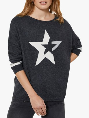 Mint Velvet Metallic Star Motif Jumper, Charcoal Grey