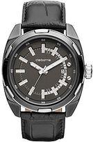 Claiborne Mens Gunmetal Leather Strap Watch