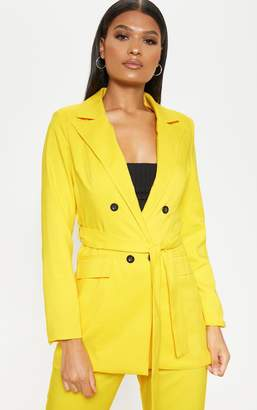 PrettyLittleThing Bright Yellow Belted Long Line Woven Blazer
