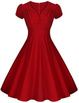LECIMO Women's Vintage 50's Retro V-Neck Audrey Hepburn Style Bridesmaid Party Dress (, Size L)