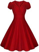 LECIMO Women's Vintage 50's Retro V-Neck Audrey Hepburn Style Bridesmaid Party Dress (, Size XL)