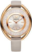 Swarovski Crystalline Oval Watch, Leather strap, Gray, Rose gold tone
