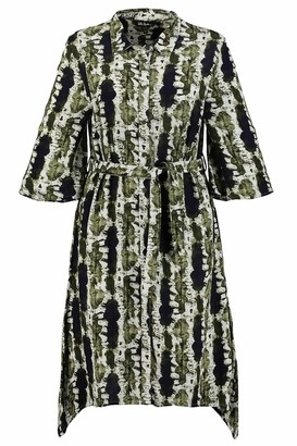 Ulla Popken Women's Plus Size Batik Stripe Print Tunic Dress Olive Khaki Multi 28/30 727281 44-54+