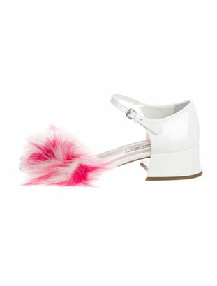 Miu Miu Patent Leather Ankle Strap Sandals White