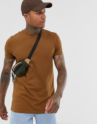 ASOS DESIGN longline t-shirt with crew neck and side splits in brown