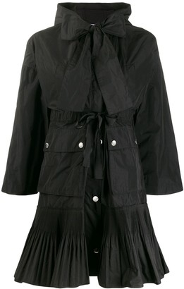 RED Valentino Pleated Hem Hooded Coat