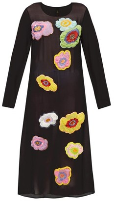 Romance Was Born New Power Generation Floral-applique Chiffon Dress - Black Multi