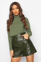boohoo PU Leather Look Seamed Shorts