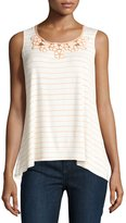 Max Studio Striped Embroidered-Neck Tank, Off White/Peach