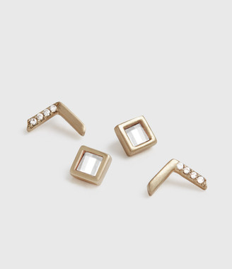 AllSaints Arrow Gold-Tone Stud Earring Set