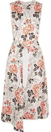 Victoria Beckham Asymmetric Belted Floral-Print Crepon Dress