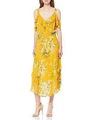 Dorothy Perkins Women's Yellow Cold Shoulder Printed Maxi Dress, Mid 410, (Size:)