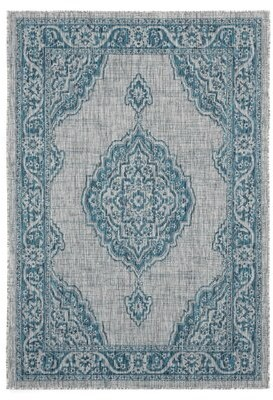 "Bungalow Rose Mcgowen Aqua Indoor/Outdoor Area Rug Rug Size: Rectangle 7'10"" x 10'6"""