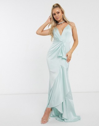 Jarlo plunge ruffle maxi dress in mint