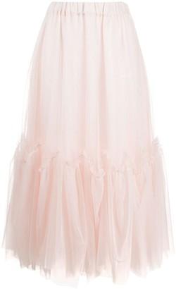 P.A.R.O.S.H. Ruffled Tulle Midi Skirt