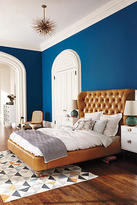 Anthropologie Premium Leather Tufted Wingback Bed