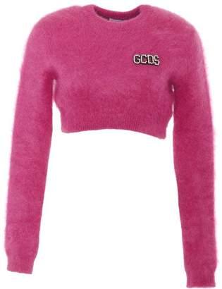 GCDS Logo Embellished Cropped Sweater