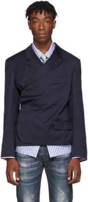 Martine Rose Navy Wrap Blazer