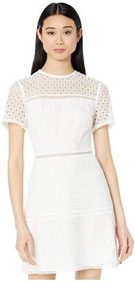 Ted Baker Allara Short Sleeve Lace Mini Dress (Ivory) Women's Dress