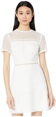 Ted Baker Allara Short Sleeve Lace Mini Dress (Ivory) Women's Dress