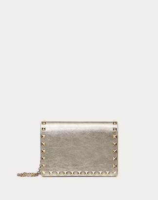 Valentino Rockstud Metallic Calfskin Pouch With Chain Strap Women Sahara Calfskin 100% OneSize