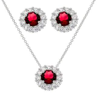 Savvy Cie Lab Created Ruby & CZ Pendant Necklace & Stud Earring Set