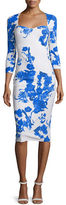 La Petite Robe di Chiara Boni Custom Collection: Serenity 3/4-Sleeve Floral-Print Sheath Dress