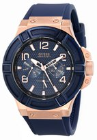 GUESS GUESS? Men's U0247G3 Blue Silicone Analog Quartz Watch