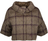Brunello Cucinelli Cropped Checked Alpaca And Wool-Blend Down Jacket