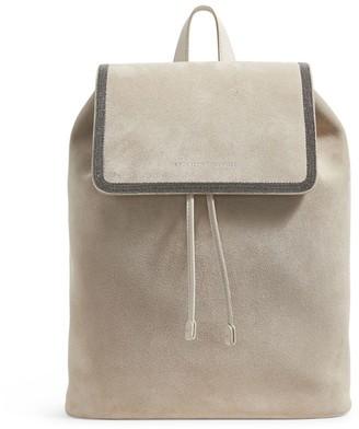Brunello Cucinelli Jewel-Trim Leather Backpack