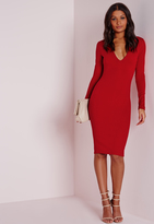 Missguided Ponte Long Sleeve Plunge Midi Dress Red