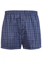 Sunspel Blue Checked Cotton Boxer Shorts