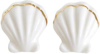 Porcelain Clam Shell Clip-On Earrings