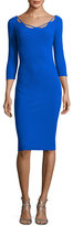 La Petite Robe di Chiara Boni Edwige 3/4-Sleeve Piped Cocktail Dress, Blue