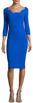 La Petite Robe di Chiara Boni Edwige 3/4-Sleeve Piped Cocktail Dress, Blue