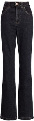 See by Chloe Patent-Trim Flare Jeans