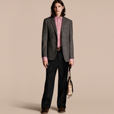 Burberry Tailored Wool Cashmere Blend Donegal Tweed Jacket