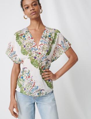 Maje Delicate floral silk top