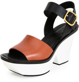 Marni Colorblock Leather Wedge Sandal, Brown/Black/White
