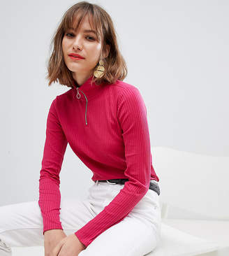 Esprit high neck zip up jersey top in Pink-Red