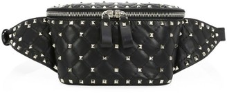 Valentino Small Rockstud Spike Leather Belt Bag